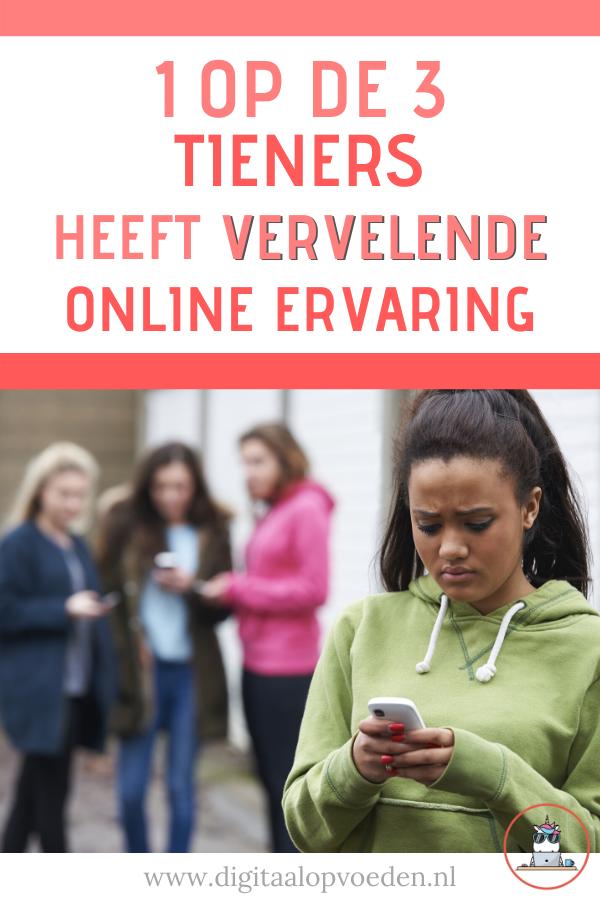Maar liefst één op de drie Nederlandse tieners heeft vervelende online ervaring! Eén op de drie! Dat is echt enorm veel. Lees hier alles over dit onderzoek.